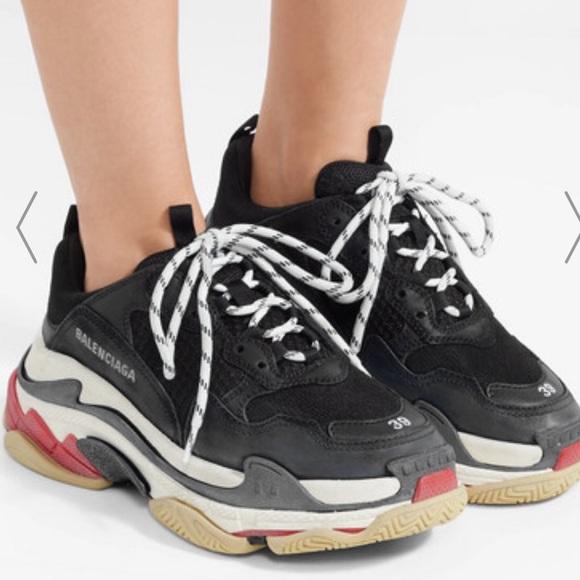 Balenciaga Black And Grey Triple S Sneaker Farfetch